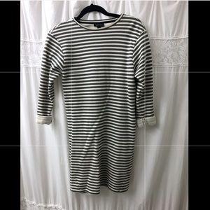 Striped long sleeve sweatshirt dress